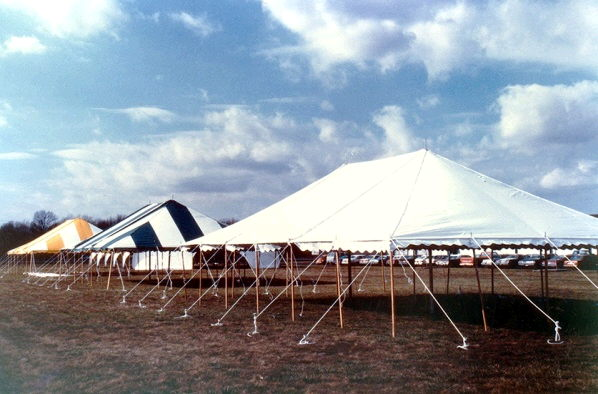 Where to rent TENT, 40 X80  POLE BLUE WHITE in Lake Charles LA, Moss Bluff LA