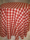 Where to rent 90  RND RED GINGHAM LINEN in Lake Charles LA