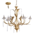 Where to rent CHANDELIER, GOLD 6 LIGHT CRYSTAL in Lake Charles LA