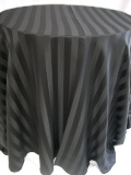 Where to rent 120  RND BLACK SATIN STRIPE LINEN in Lake Charles LA
